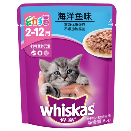 伟嘉 幼猫精选海洋鱼妙鲜包85g 猫湿粮