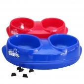 捣蛋鬼 宠物用品 防滑弧形塑料双联碗 狗猫碗 泰迪狗食盆颜色随机