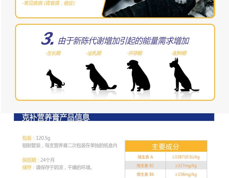 法国维克Virbac 克补软膏维生素营养膏120.5g 幼犬猫高运动量怀孕哺乳期术后用