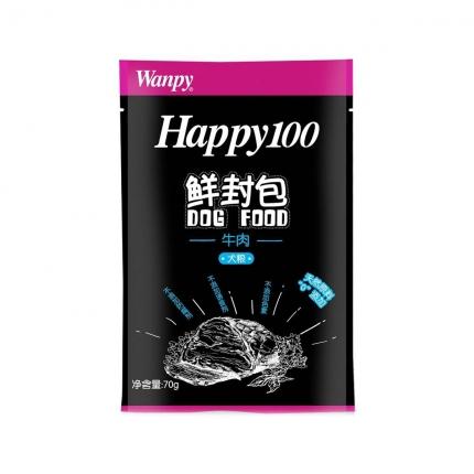 顽皮Wanpy happy100系列成犬牛肉午餐肉鲜封包70g 狗湿粮