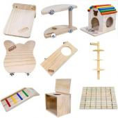 carno 木质龙猫玩具用品跳板/窝/木屋/吊链/多款可选