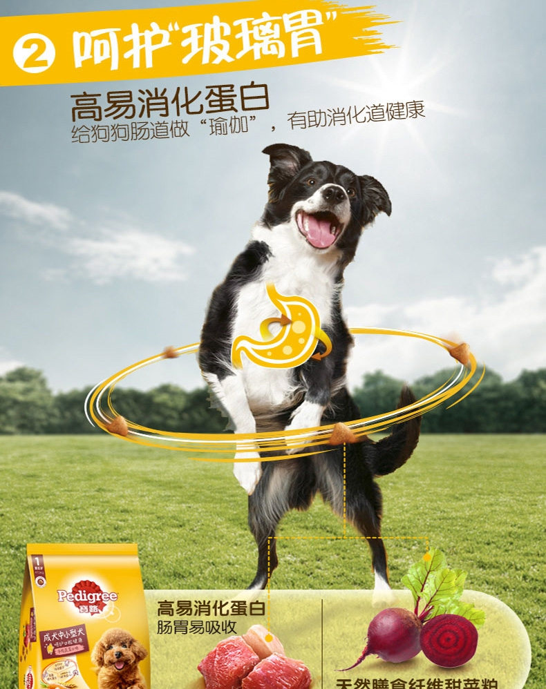 宝路Pedigree 牛肉肝蔬菜中小型成犬粮 7.5kg