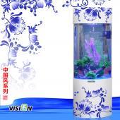 vision完胜 亚克力彩色青花瓷水族箱鱼缸
