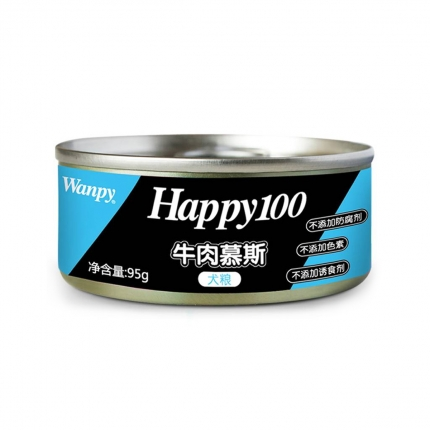 顽皮Wanpy happy100牛肉慕斯狗罐头95g 狗湿粮(新老包装,随机发货)