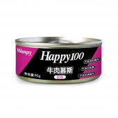 顽皮Wanpy happy100牛肉慕斯猫罐头95g 猫湿粮(新老包装随机发货)
