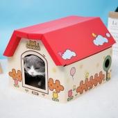 田田貓 瓦楞紙組合房子 獨立空間帶磨爪紙箱盒子貓窩