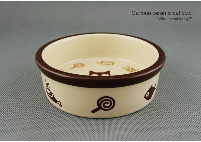 田田猫 圆形卡通陶瓷猫碗