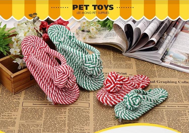 伊丽Elite 双色拖鞋状棉绳节狗磨牙玩具 小型犬