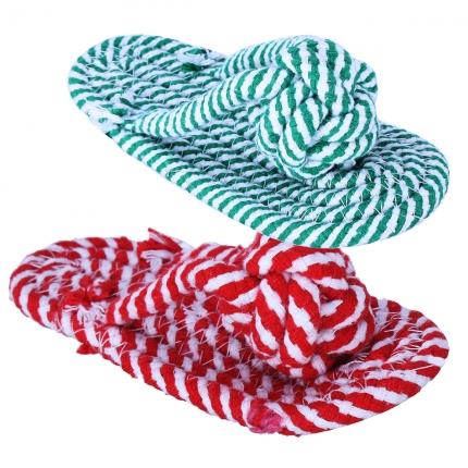 伊丽双色拖鞋状棉绳节小型犬耐啃咬磨牙玩具LWT-0012 小图 (0)