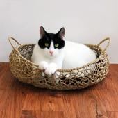 田田猫 手工编织牛皮纸船形猫窝