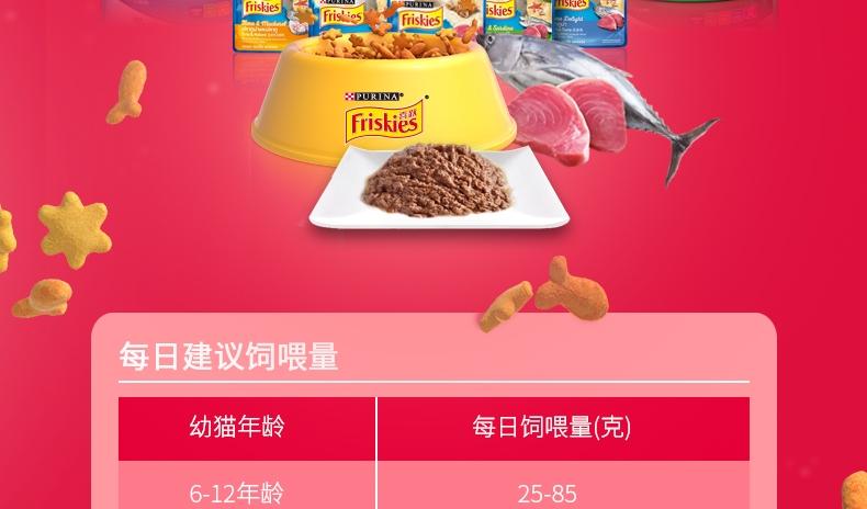 喜跃Friskies 幼猫粮鸡肉鱼肉牛奶和菠菜味全价猫粮1.2kg
