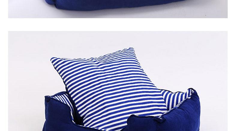 怡亲多可特 蓝色竖条纹配蓝色麂皮绒狗窝 全可拆洗