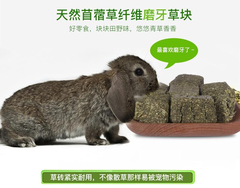 洁西 兔兔龙猫豚鼠磨牙草砖苜蓿磨牙草块小宠磨牙500克