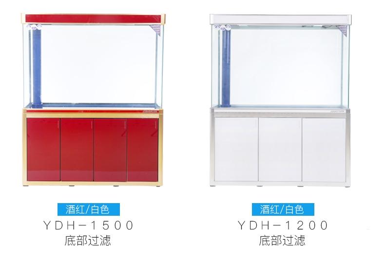 聚宝源无边框直弯龙鱼缸上滤-1.2m白色(缸+柜子)