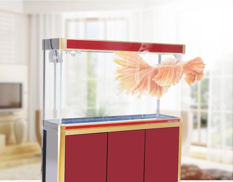 聚宝源无边框直弯龙鱼缸上滤-1.2m酒红(缸+柜子)