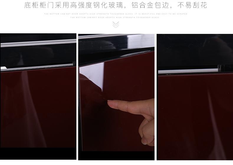 聚宝源无边框直弯龙鱼缸YS-1200上滤-1.2m酒红(缸+柜子)