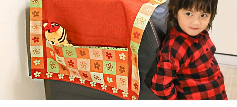 一橙 棉麻盖布 单开门冰箱洗衣机防尘罩布卡通布艺多用收纳床头柜盖巾