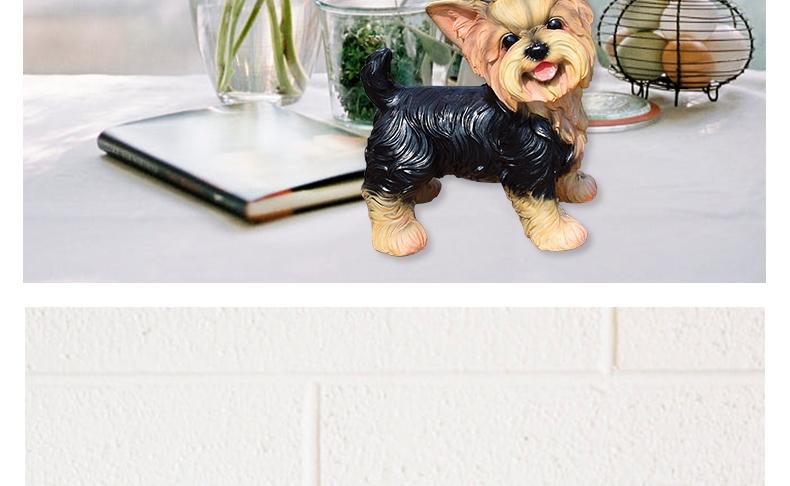 多拉乐 树脂仿真狗约克夏模型 装饰摆件