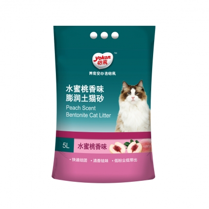 怡亲 水蜜桃香味膨润土猫砂5L