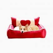愛寶嘉 超大柔軟寵物窩溫暖邂逅愛心 貓狗通用床