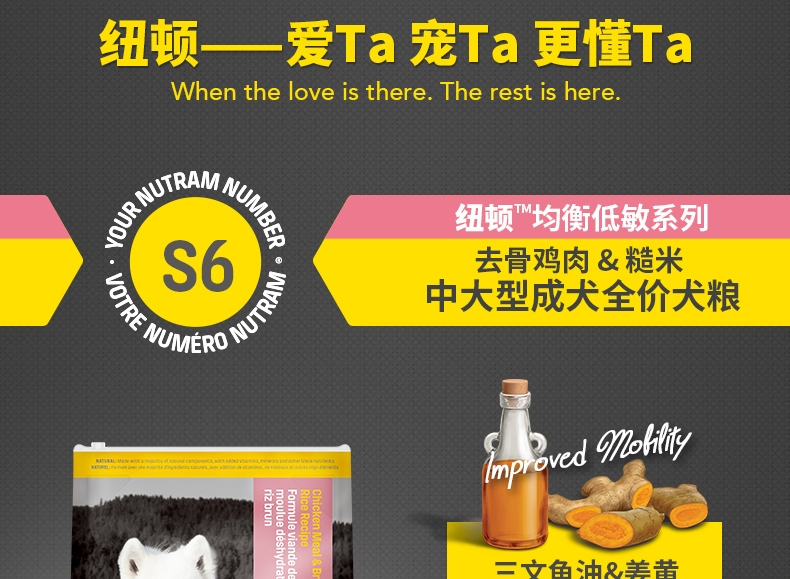 加拿大纽顿nutram 低敏系列中大型成犬粮去骨鸡肉糙米狗粮11.4kg S6原装进口粮