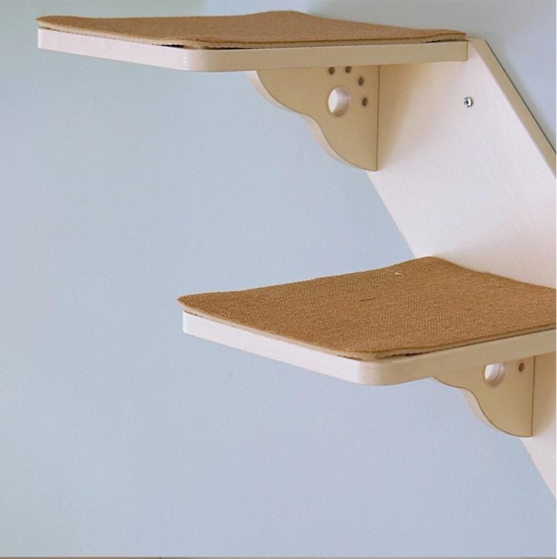 CatS 墙上猫家具系列之木制猫楼梯猫爬台阶F4 白浮雕款