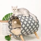 伊麗Elite 貓爬架實木貓床圓桶貓窩貓抓板貓磨爪寵物用品貓咪玩具