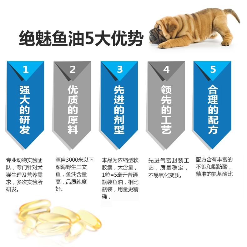 绝魅 犬用深海鱼油软胶囊  瓶装60粒 护关节美毛