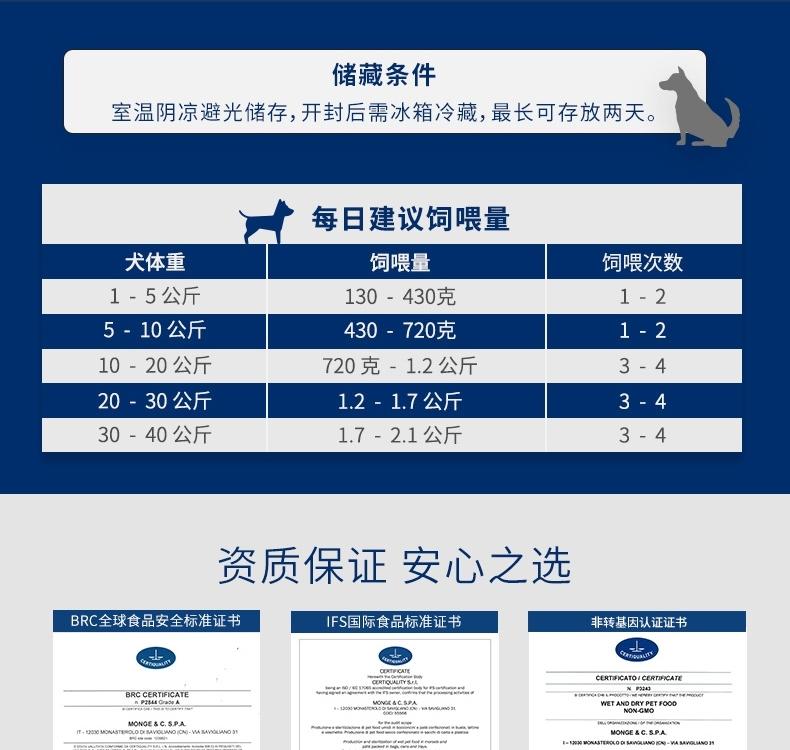 意大利孟爵Monge 爱优特犬 羊肉肉泥和肉块成犬狗罐头 150g 80%含肉量