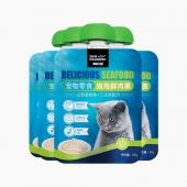 Sea kingdom 猫用金枪鱼三文鱼鲜肉羹90g*4包 猫湿粮