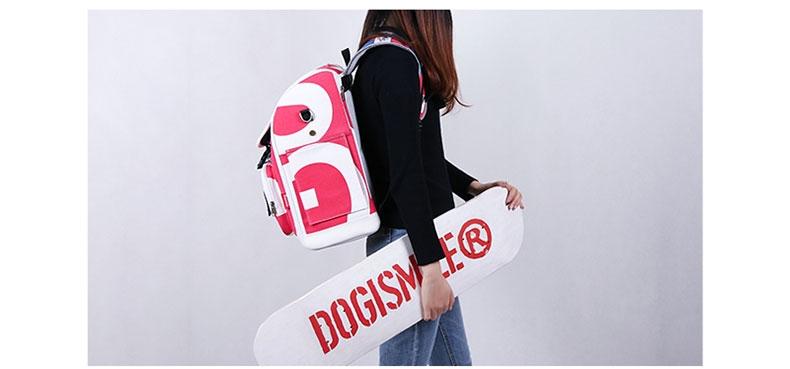 Dogismile 字母涂鸦风格宠物便携外出双肩猫包狗包酷炫背包