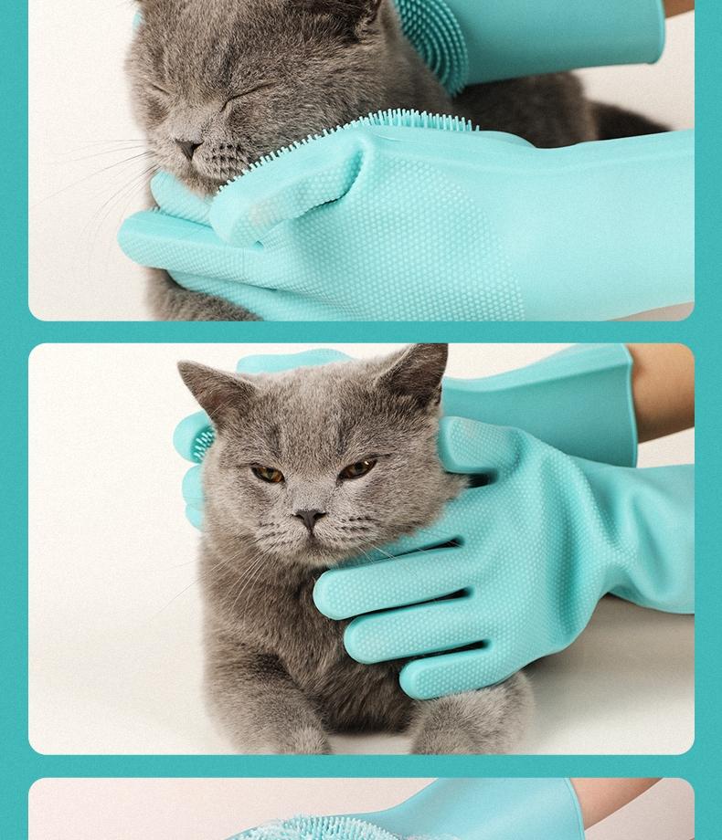 多可特 宠物硅胶洗澡手套 加长版 犬猫通用