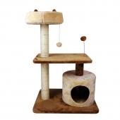 田田猫 天然剑麻磨爪玩耍米黄色+咖色猫爬架  多规格可选