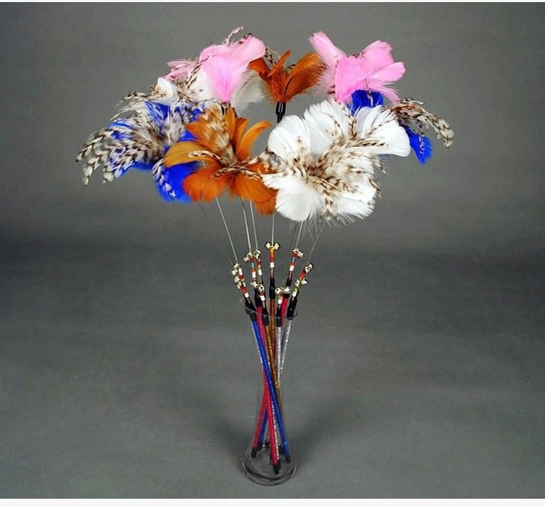 田田猫 经典羽毛花朵钢丝杆逗猫棒  多颜色可选