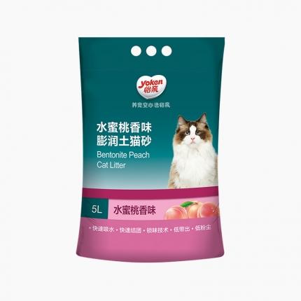 怡亲Yoken 水蜜桃香味膨润土猫砂 5L 低粉尘不沾爪